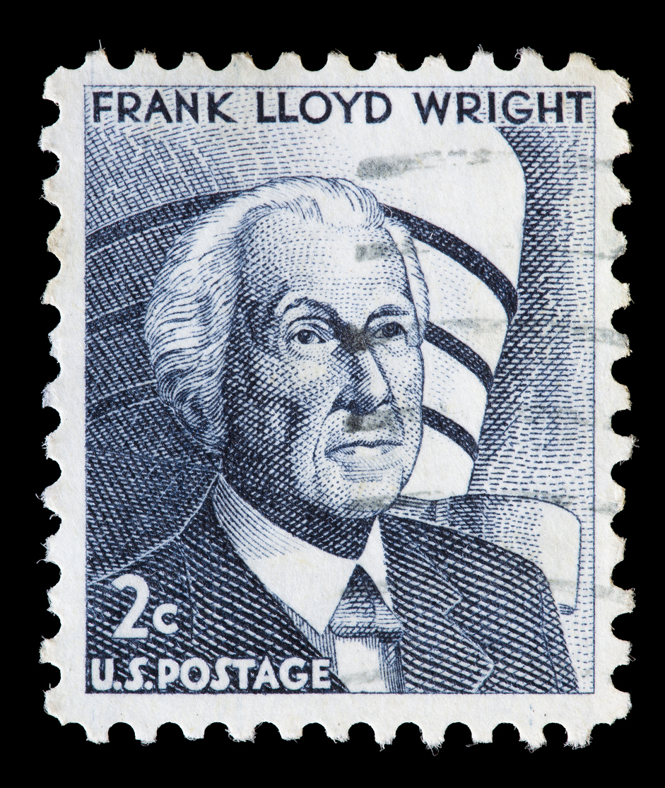 united states used postage stamp showing frank lloyd wright-