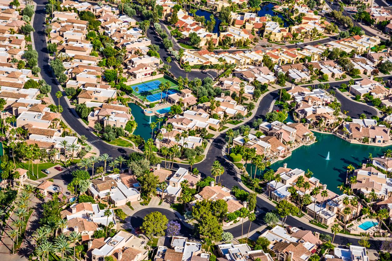 scottsdale phoenix arizona suburban housing development neighborhood aerial view